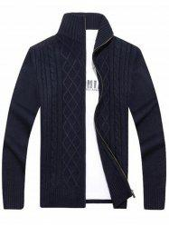 High Neck Cable Knit Sweater Cardigan - BLUE 3XL