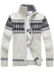 Jaquard Zip Up Sweater Cardigan - WHITE L