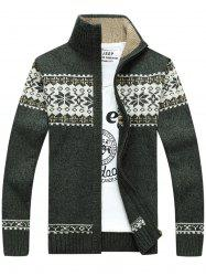 Jaquard Zip Up Sweater Cardigan - GREEN