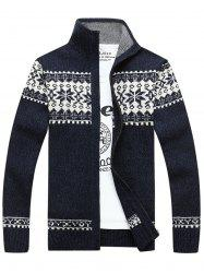 Jaquard Zip Up Sweater Cardigan - CADETBLUE 3XL