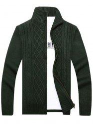 High Neck Cable Knit Sweater Cardigan - GREEN 3XL