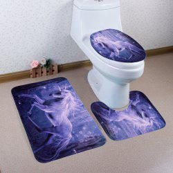 Antislip 3Pcs Fairyland Unicorn Bathroom Mats Set - PURPLE