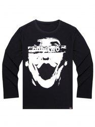 Printed Plus Size Long Sleeve T-shirt - BLACK