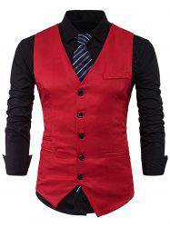 Single Breasted V Neck Edging Waistcoat - RED 2XL