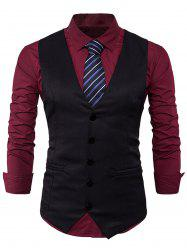 Single Breasted Edging Design Waistcoat - BLACK XL