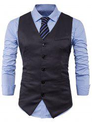 Single Breasted V Neck Edging Waistcoat - DEEP GRAY L