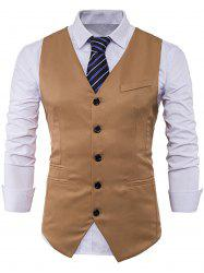 Single Breasted V Neck Edging Waistcoat - KHAKI L