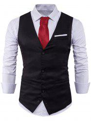 V Neck Color Block Edging Waistcoat - BLACK 2XL