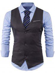 V Neck Color Block Edging Waistcoat - GRAY 2XL
