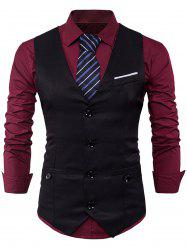 Single Breasted V Neck Back Belt Waistcoat - BLACK M