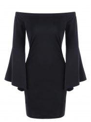 Off Shoulder Flare Sleeve Sheath Dress - BLACK