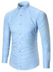Pocket Button-down Long Sleeve Shirt - LIGHT BLUE M