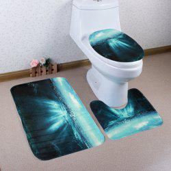 3Pcs Coral Fleece Ocean Sunlight Bathroom Rugs Set - SEA GREEN