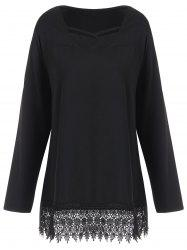 Long Sleeve Plus Size Lace Trim Tee - BLACK XL