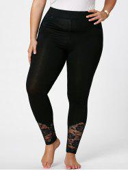 Plus Size Lace Insert Fitted Pants - BLACK
