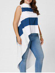 Stripe Mock Neck Plus Size High Low Maxi Top -