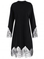 Plus Size Eyelash Lace Trim Shift Dress with Sleeves