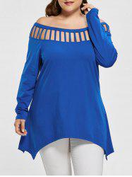 Long Sleeve Plus Size Cut Out Asymmetric Tee