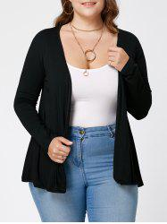 Plus Size Sheer Lace Trim Cardigan