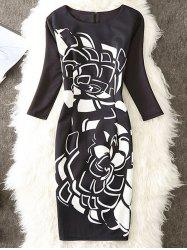Contrast Print Knee Length Sheath Dress