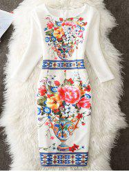 Knee Length Floral Printed Sheath Dress