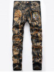 Tiger Embroidery Tie Dye Distressed Jeans