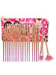 20Pcs Unicorn Ombre Eye Makeup Brushes Set With Rose Bag -