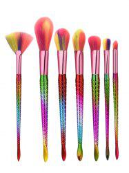 7Pcs Glitter Handle Mermaid Makeup Brushes Set -