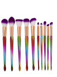 Ensemble de brosse à maquillage multijoueur de 10 pcs Glitter Mermaid - Pourpre