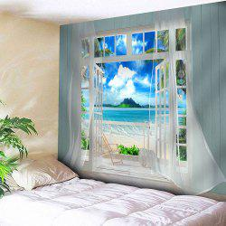 3D Faux Window Seascape Printed Wall Art Tapestry