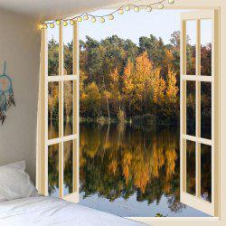 Faux Window Lake Printed Waterproof Wall Hanging Tapestry