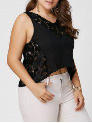 V Neck Sheer Plus Size Lace Crochet Tank Top