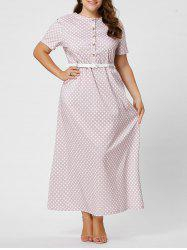 Button Polka Dot Plus Size Maxi Dress with Blet