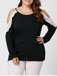 Plus Size Lace Insert Long Sleeve Cold Shoulder Tee - BLACK XL
