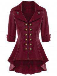 Double Breasted High Low Flare Trench Coat