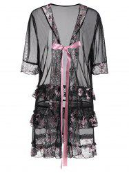 Plus Size Floral Bowknot Sheer Babydoll