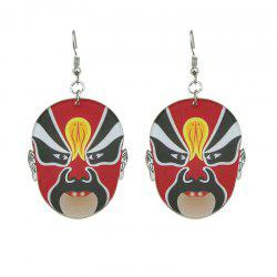 Chinese Peking Opera Oval Mask Earrings - RED