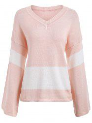 Drop Shoulder V Neck Sweater - LIGHT PINK ONE SIZE