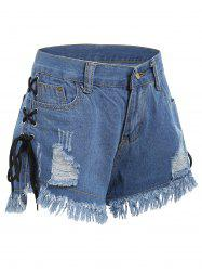 Lace Up Frayed Hem Ripped Denim Shorts - DENIM BLUE