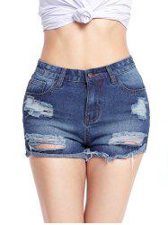 Distressed Cut Off Jean Shorts - BLUE 2XL