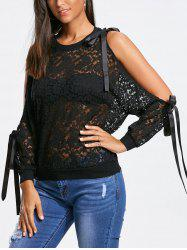 Bowknot Ribbons Split Cuff Sleeve Lace Blouse