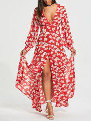 Floral Print Button Up Chiffon Maxi Dress with Split - RED