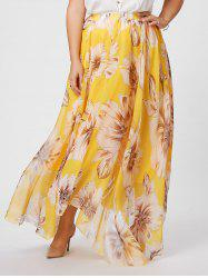 Elastic Waist Plus Size Floral Maxi Skirt - YELLOW 2XL