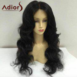 Adiors Long Center Parting Fluffy Body Wave Synthetic Wig - BLACK