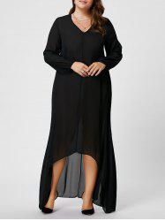 Plus Size V Neck Long Sleeve Maxi Chiffon Flowy Dress