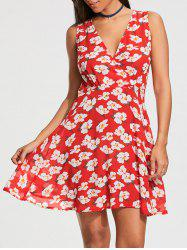 Floral Print Sleeveless Skater Dress - RED