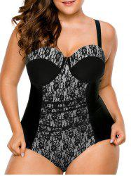 Push Up Plus Size Swimsuit with Lace - BLACK