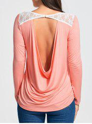 Cowl Back Lace Insert Long Sleeve T-shirt -