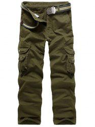 Zip Fly String Pocket Cargo Pants - ARMY GREEN 36