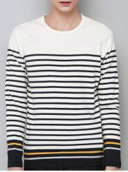 Stripe Panel Crew Neck Long Sleeve T-shirt